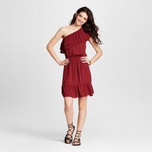 Burgundy/ Wine One Shoulder Dress Ruffles Size XL